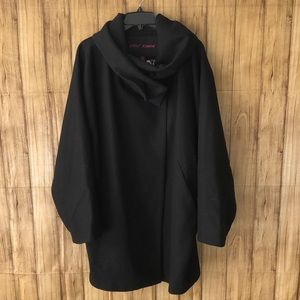 🌹Betsey Johnson Black Wool Blend Cape Style…